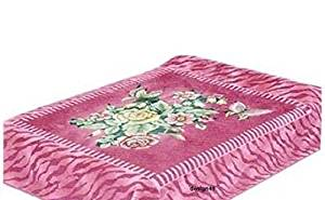 Vivalon Pink Zebra Pattern and Roses (BM112) Thick Mink Korean Style Plush King Size Blanket - By Solaron