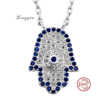 turkish silver necklace jewelry 925 Sterling Silver hamsa hand necklace with cz palm pendant