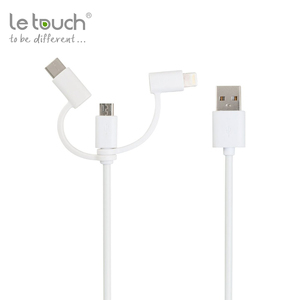 Trade assurance 3 in 1 multi usb date fast MFI charging cable For Apple iphone 6 7 android usb type c adapter