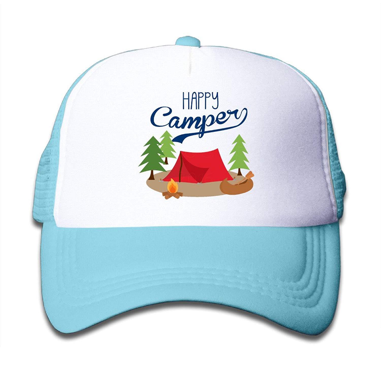 91865a4cdee Get Quotations · DALIX Happy Camper Baby Snapback Mesh Baseball Cap Hat Pink