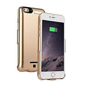 """iPhone7(4.7"""") Battery Case, MinzyCase 5000mAh [Ultra-Thin] [Urltra-Light] [No Chin] Standby Switch Lighting Charging Battery Full Power Bank Protection Back Case for iPhone7[4.7inch] (Gold)"""