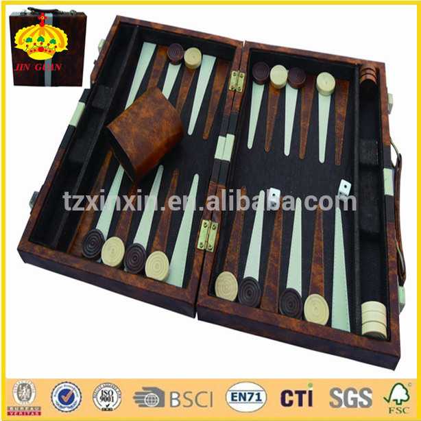 BACKGAMMON GAME IN FAUX LEATHER CASE backgammon board OEM