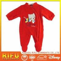 comfortable front left zipper with cute coloured kitty emb. and printed baby red romper