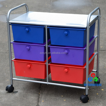 Double Wide 6 Rainbow Plastic Drawers Metal Storage Trolley Cart