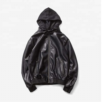 D&S factory dropshipping hoodie oem factory black zipper pocket pu jacket faux leather bomber jacket hoodie