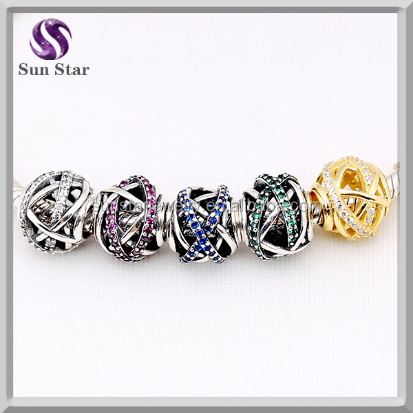 Fine Jewelry 925 Sterling colorful cz pave galaxy ball bead charm, DIY european jewelry charm