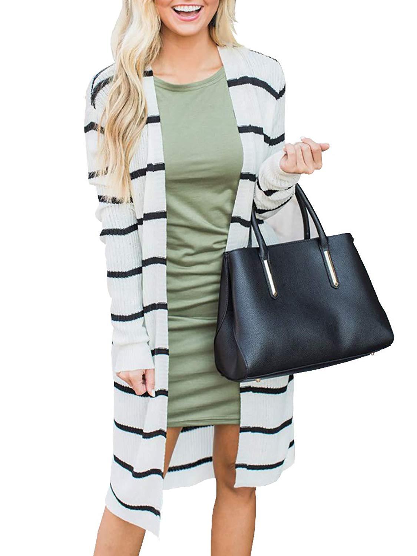 Makkrom Womens Open Front Long Cardigan Sweaters Striped Oversized Fall Knit Sweater Outwear