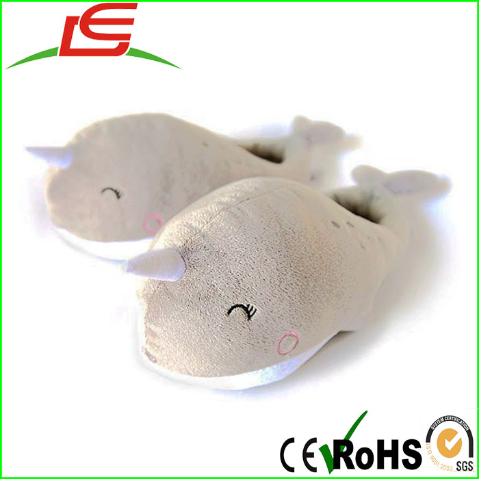 keep your foot warm Narwhal USB indoor Heated Plush Slippers