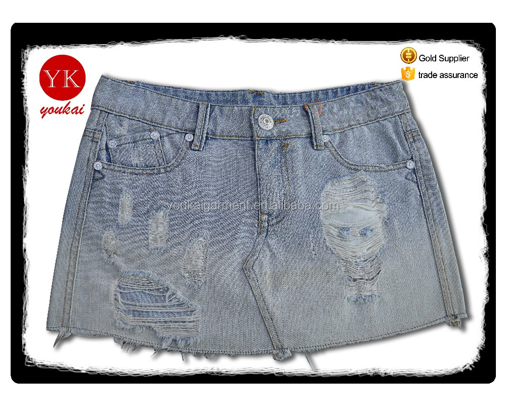 Women Summer fashion jeans skirts Girls Sexy Mini ripped pattern character frayed Denim Jeans Skirts