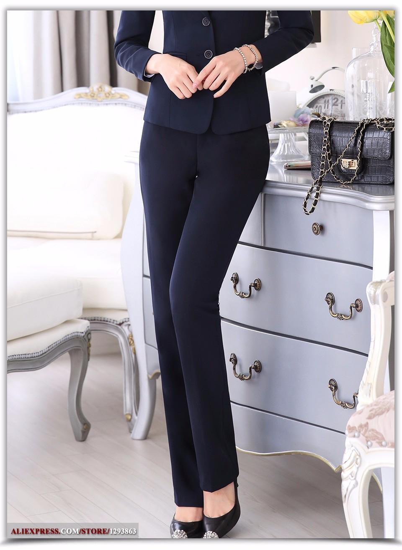 d68cb18718ccaa Comprimento total de negócios profissional Calças formais mulheres calças  meninas desgaste do trabalho feminino magro Office Lady carreira plus ...