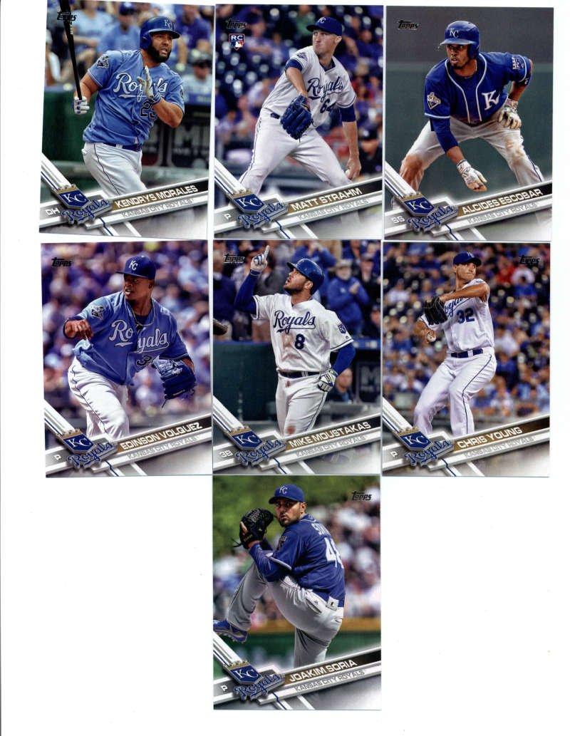 2017 Topps Series 1 2 Kansas City Royals Team Set of 21 Cards: Paulo Orlando(#41), Joakim Soria(#45), Mike Moustakas(#63), Edinson Volquez(#111), Lorenzo Cain(#167), Kendrys Morales(#205), Wade Davis(#225), Chris Young(#241), Matt Strahm(#274), Alcides Escobar(#338), Kelvin Herrera(#357), Salvador