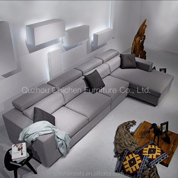 High Adjule Back Dark Light Gray Fabric L Shaped Corner Modular Sofa With Chaise Shape Wooden Sectional