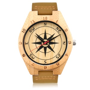 Small MOQ high quality leather strap customized men wooden wristwatch compass Bamboo watches