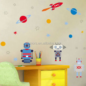 Sinmors Outer Space Wall Decor Stickers,adhesive Kids Wall Decals,robots  Cartoon Kids Stickers