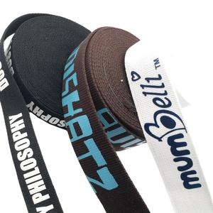 Custom 50mm Silkscreen Printed Logo Polyester Webbing , Straps For Bags Or Decoration