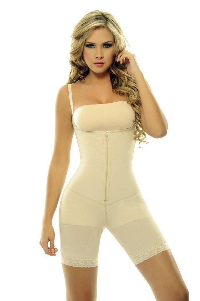5b25cf69e815c Get Quotations · Faja Shapewear Powernet with Latex Braless Body Girdle  Capri Length Above th…