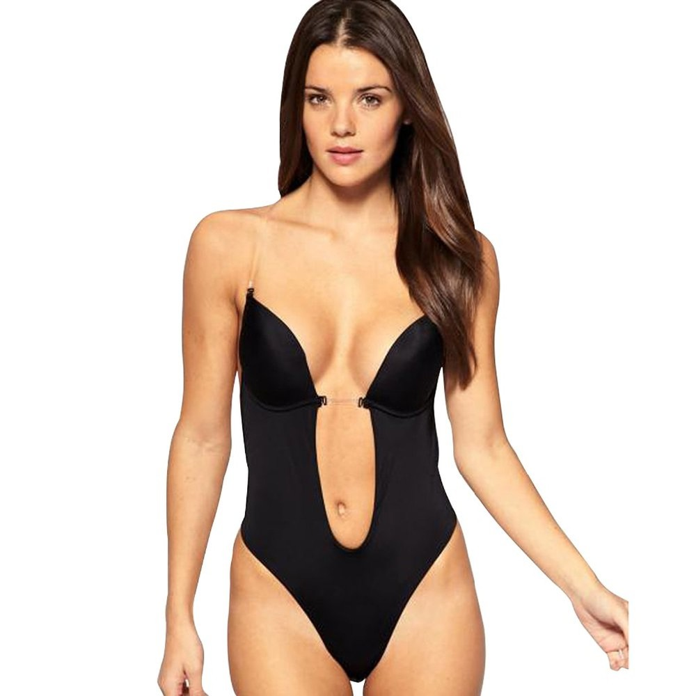 Sexy Deep Plunge shapewear Thong Backless Deep U Body Shaper Underwear For  Dress Push Up Women Bodysuit Clear Straps 0c40128be