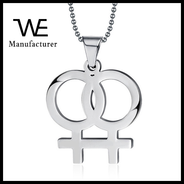 High Polshed Silver Stainless Steel Lara Lesbian Gender Mark Pendant Necklace Jewelry