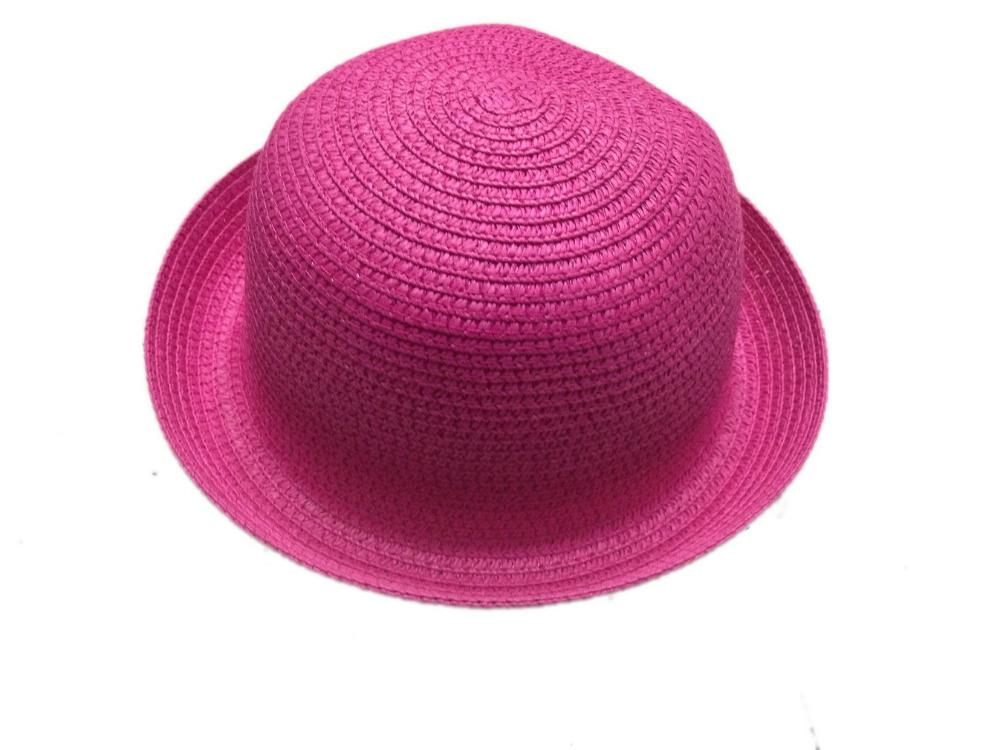 191c391bde3 Get Quotations · Pink straw hat Children pots kids Girl Summer Sunhat Bowler  Derby Fedora hat