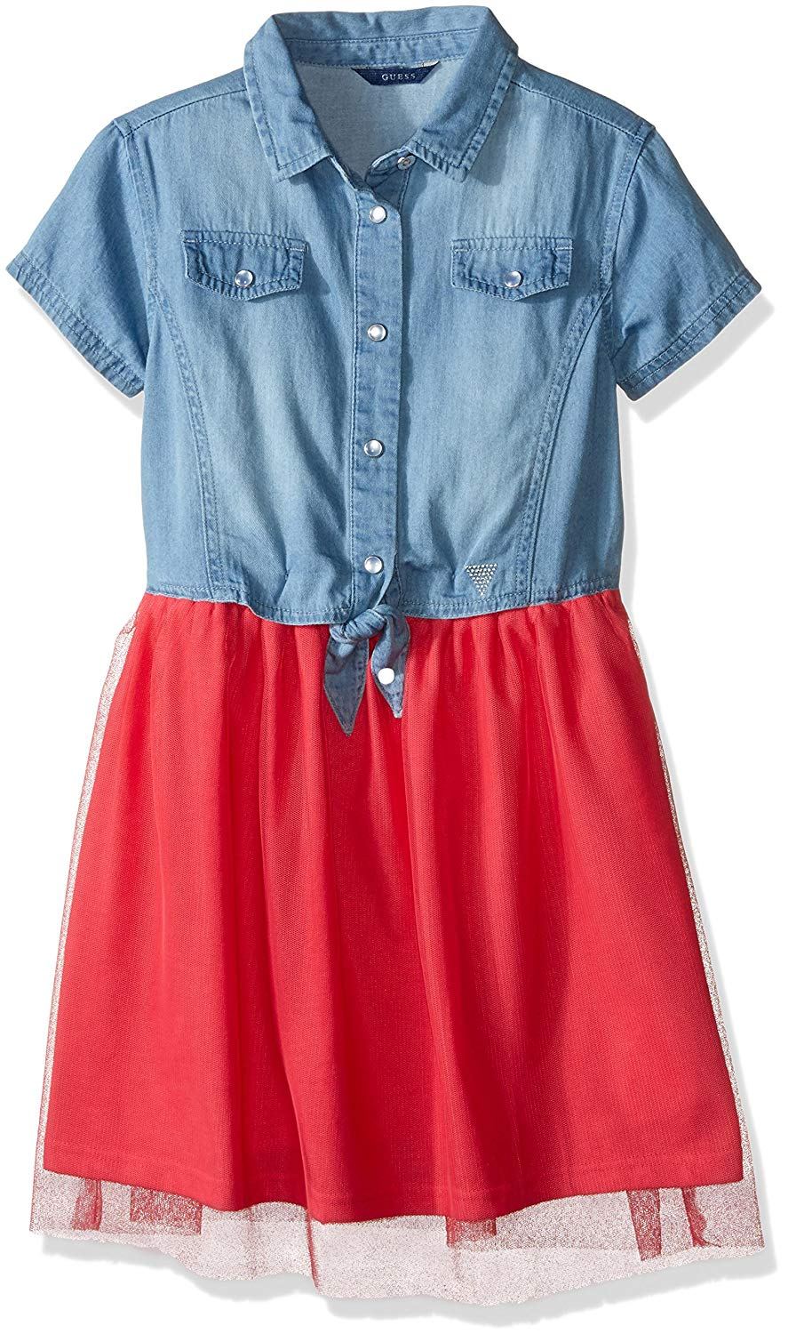 GUESS Big Girls' Denim and Tulle Dress