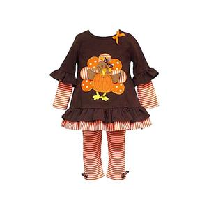 Thanksgiving Infant Outfit Dress Kids Ruffle Stitching Pink Stripe Clothing Dress Set Baby Girls Clothing Set