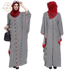 Kaftan Dress Long Sleeves Abaya Black And White Stripe Maxi Muslim Dress