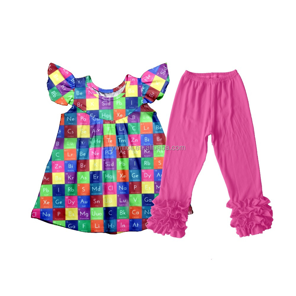 fall winter boutique outfit kids clothing alphabet shirt set wholesale baby outfits