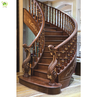 customized interior and exterior curved wood modern stairs