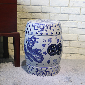 Antique Chinese Blue And White Porcelain Garden Stools With Dragon Design
