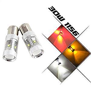 NSLUMO Canbus 30W (6x5w) 1156 BA15S P21W 382 REVERSE BRAKE DRL LIGHT SUPER BRIGHT CREE Chip LED LIGHT BULBS CANBUS FREE ERROR (1156 BA15S, Yellow (Amber))