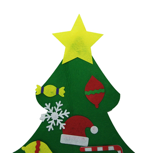 DIY felt christmas tree with Ornaments double stitched wall hanging Felt Christmas tree decoration
