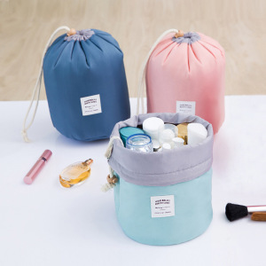China Custom Logo Colorful Nylon Round Barrel Shaped Travel Cosmetics Accessories Bag