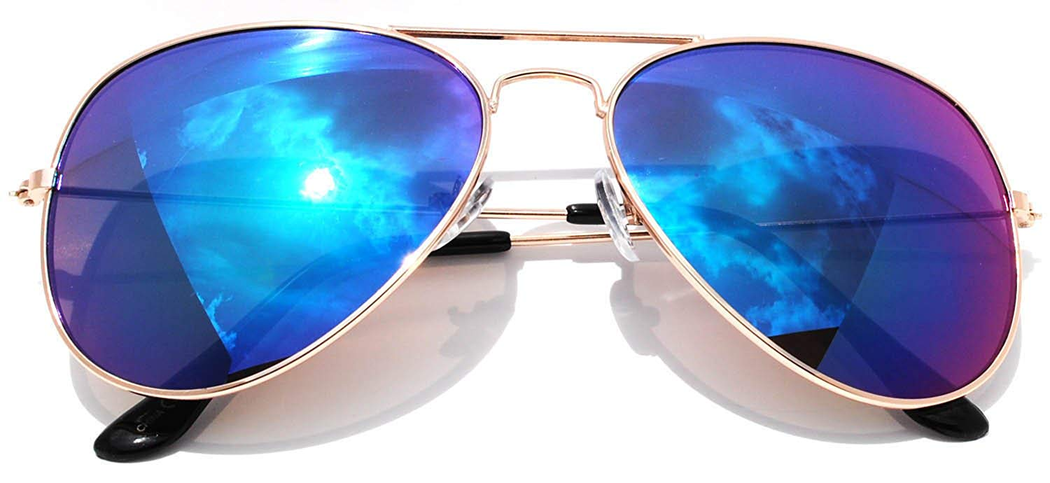 e12a66999f7c0 Get Quotations · Classic Aviator Full Mirror Lens Sunglasses Metal Frame  Gold Color Men Women