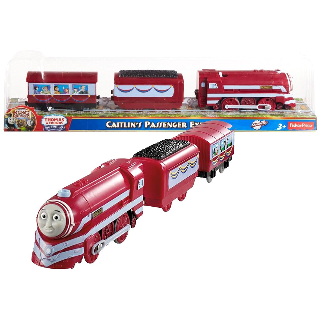 """Fisher Price Year 2013 Thomas and Friends As Seen On """"King of the Railway"""" DVD Series Trackmaster Motorized Railway Battery Powered Tank Engine 3 Pack Train Set - CAITLIN'S PASSENGER EXPRESS with 1 Coal Car and 1 Passenger Car"""