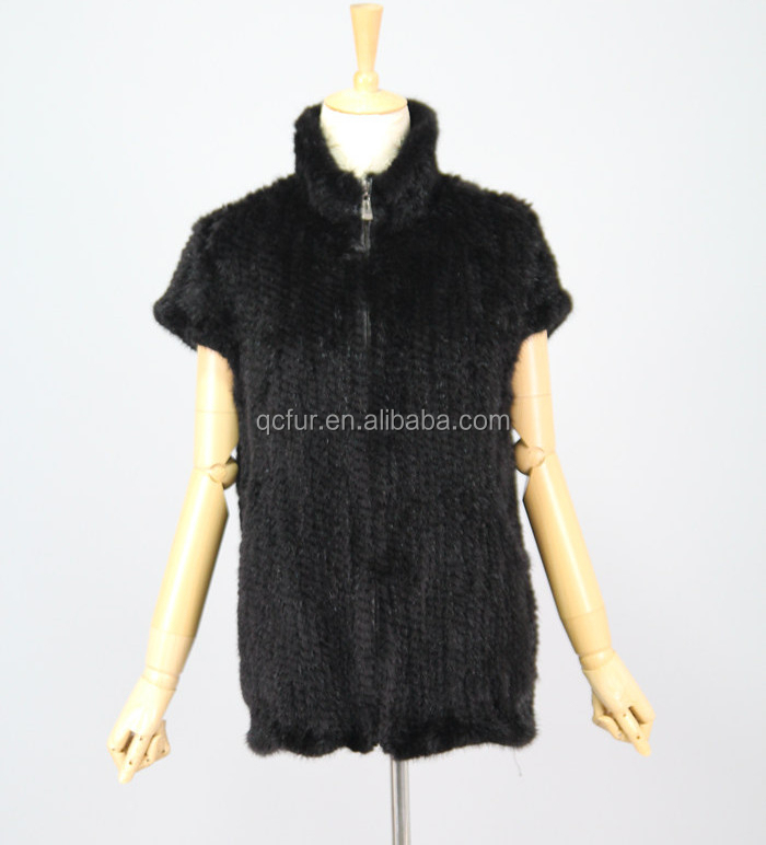 QC6008 knitted women real mink fur vest gilet 2015 wholasale coat