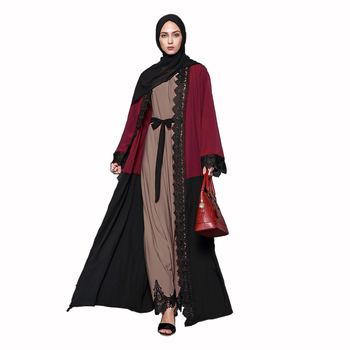 wholesale islamic clothing muslim abaya traditional islamic clothing lace front open dress for women