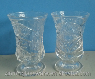 China supplier shanxi glassware patterned low stem wine glass