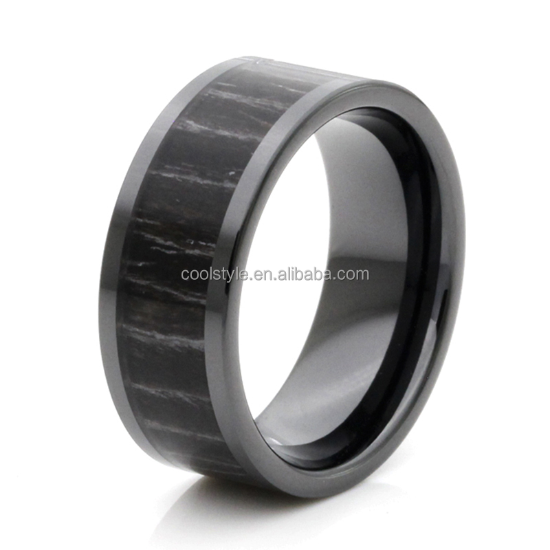 Factory new design Flat band wood inlay high tech ceramic wedding bands rings