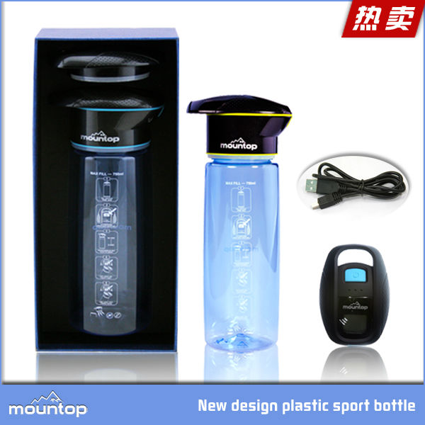 2019 hot UV sterilize tritan round hot protein self-cooling bottle filter water fountains, Blue/green