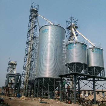 Galvanized hopper bottom steel silo to store wheat and soybean