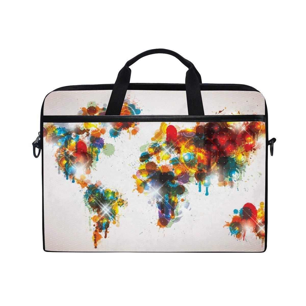 0dd171f364 Get Quotations · ALAZA Bling World Map Laptop Bag Briefcase Shoulder Messenger  Bag for Men and Women Fits 15