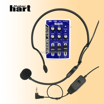 Maker hart 3 Channels Audio Mixer Console Mixing with AVL606 Headset Conference Wearing Microphone