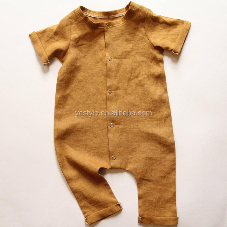100% リネンニュートラルベビーロンパース、新生児用良質マスタード半袖ベビージャンプスーツ