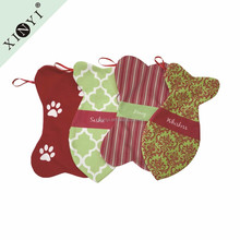 Customized design monogrammed home decoration wholesale promotional animal pet christmas stocking