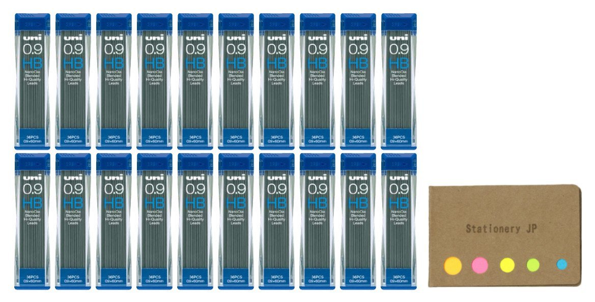 Uni NanoDia Mechanical Pencil Leads 0.9mm HB, 20-pack/total 720 Leads, Sticky Notes Value Set