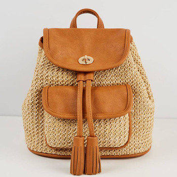 oem personalized drawstring yellow fashion natural straw summer backpack for ladies