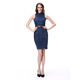 Lady Women's Fashion Sleeveless Stand Neck Sexy Front Slit Pencil Denim Dress