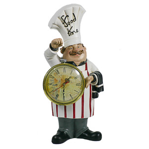 Decorative Small Polyresin Kitchen Chef Statue with A Clock