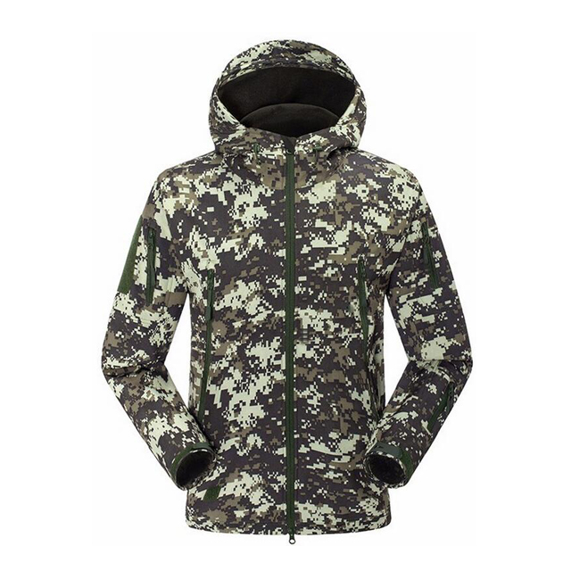 Men's  Outdoor Hoodie Army Uniform Waterproof Windproof Softshell Jacket Military Hunting Tactical Jacket