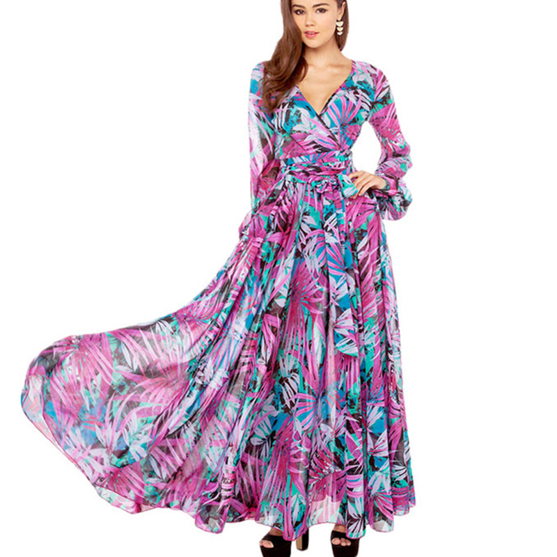 f940b2d783e8 Rainforest Floral Printed Women Beach Dress Robe Long Sleeve Chiffon  Dresses Maxi Vesitidos